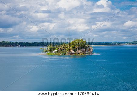 Panoramic view at island with museum on Peten Iitza lake in Flores on Dec 20, 2015. Guatemala.