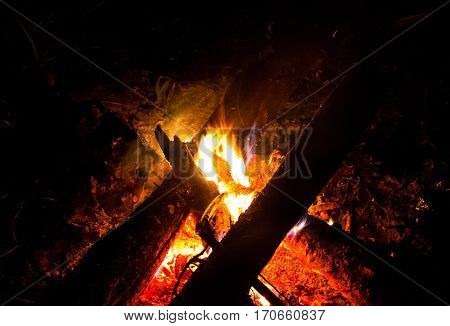 campfire bright flame in the dark on a  halt outdoor