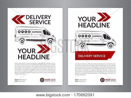 Set A4 Express delivery service brochure flyer design layout template. Delivery van magazine cover mockup flyer. Vector illustration.