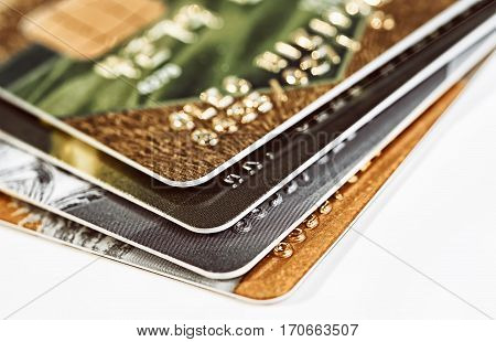 Credit cards. Plastic cards on a white background closeup