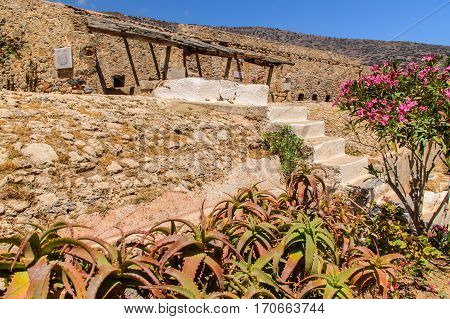 Ancient houses on the Greek island ruins