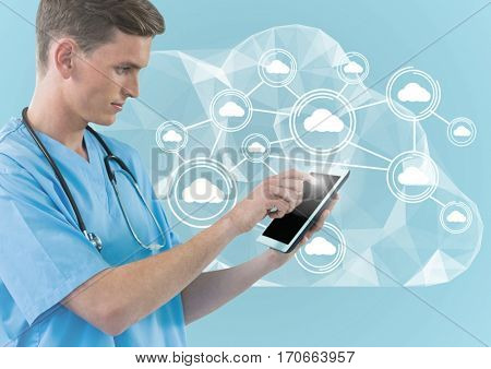 Digital composite image of doctor using digital tablet against cloud computing icons on blue background