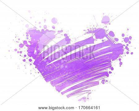 Grunge watercolor imitation heart in purple colors. Love symbol. Vector illustration.