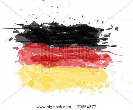 Grunge flag of Germany Bundesflagge und Handelsflagge. Imitation of paint brushed.