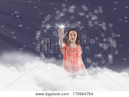 Woman in clouds touching connecting icons against digitally generated background