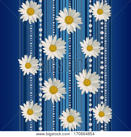 Beautiful white daisy flowers on blue background with stripes and pearls.