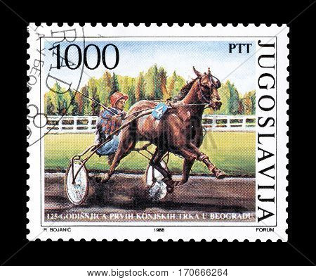 YUGOSLAVIA - CIRCA 1988 : Cancelled postage stamp printed by Yugoslavia, that shows Horse race.