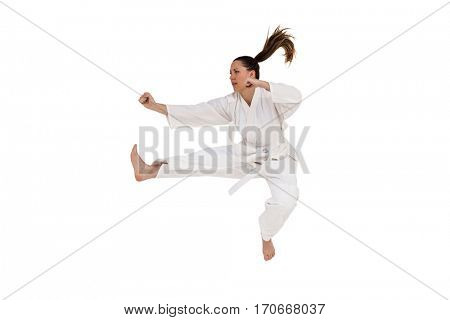Fighter performing karate stance on white background