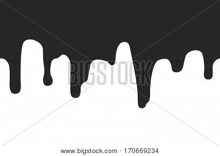 Dripping seamless border. Repeatable illustration of black paint flow down