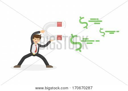 Businessman attracts money with magnet. Concept of income, profit and success.