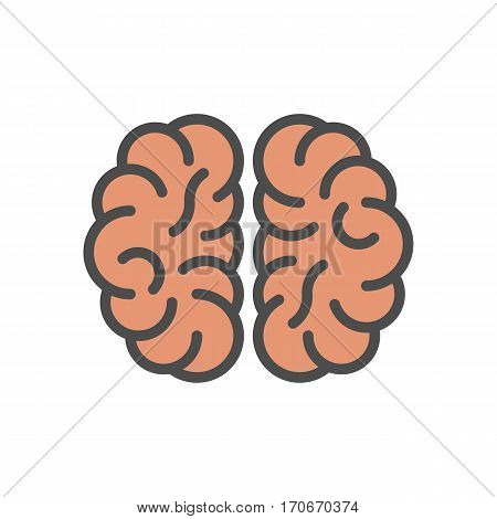 Isolated brains icon on white background. Concept of thinking, brainstrom and intellect.
