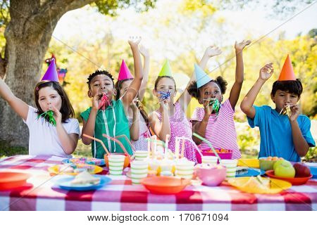 Cute children having fun during a birthday party on a park