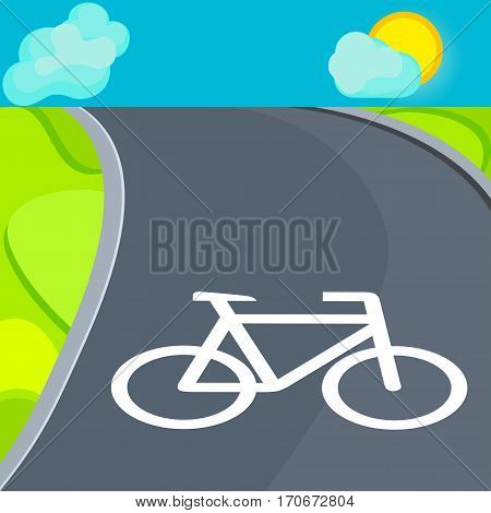 picture bicycle lane and the sign indicating the bike path