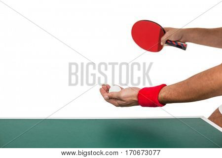 Athlete man playing table tennis on white background