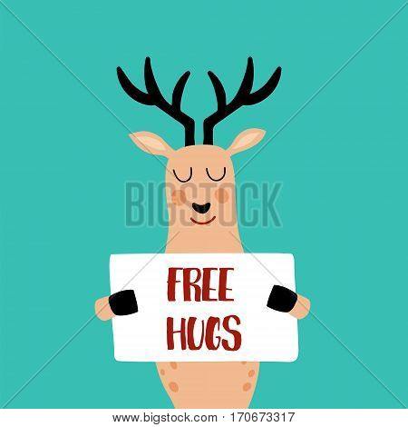 vector illustration of a cute deer with poster in his hands and free hugs text