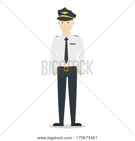 Isolated pilot on white background. Smiling funny pilot in flying uniform.