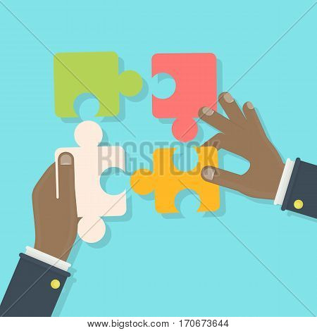 Putting puzzle pieces together. Woman holds puzzle. Concept of thinking, building and creativity.