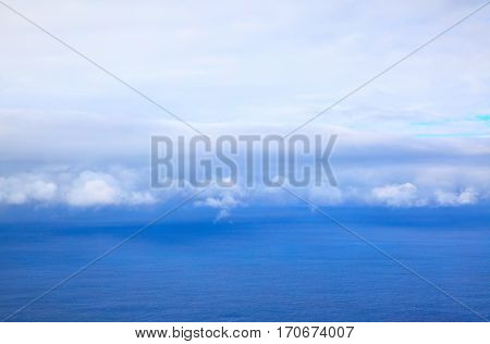 Atlantic ocean -- beautiful seascape clouds on the horizon and sky, natural photo background