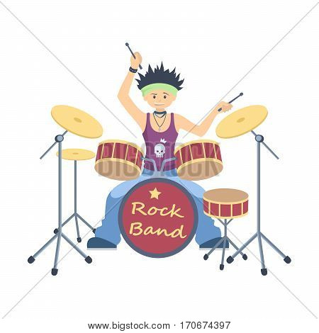 Isolated drum player on white background. Cool singer and musician.