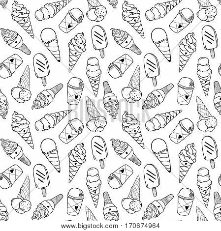 Seamless ice cream pattern, hand-drawn monochrome black and white background, ice-cream vector, ice cream background, EPS 8