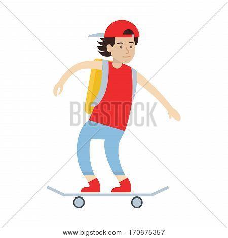 Isolated boy skateboarding. Man riding on the skateboard. Summer extreme sport.