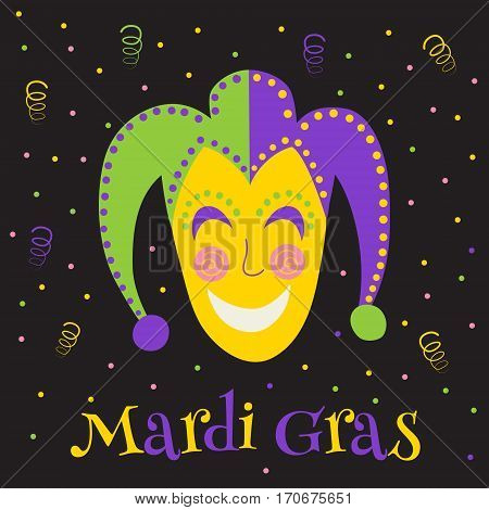 vector illustration of mardi gras text (translated as fat tuesday) and traditional mask on dark background