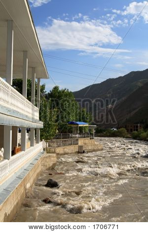 Restaurant on the bank of Varzob Tadjikistan poster