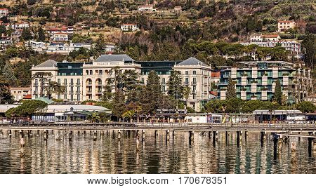 PORTOROZ, SLOVENIA - JANUARY 21, 2017: Kempinski Palace built in 1910, one of the most important resorts for the Austro-Hungarian monarchy, currently one of the finest hotels on the Adriatic coast.