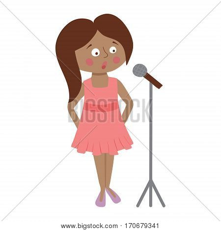 vector illustration of a cute girl standing with a microphone and singing