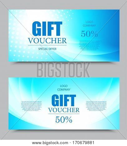 Gift company voucher template on fifty percent rate discount with halftone effect and wavy blue dynamic light pattern. Vector illustration