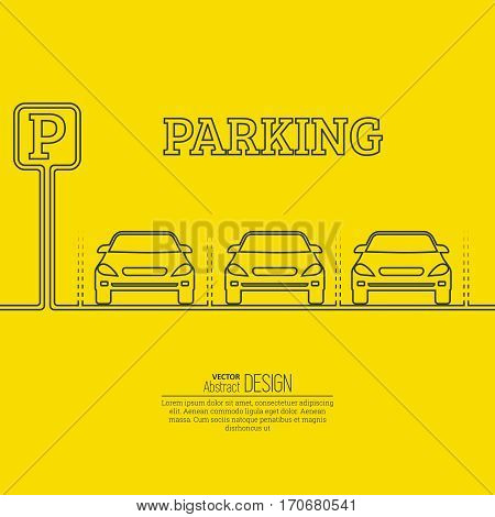Abstract background with cars and road sign. Parking zone. Vector element of graphical design. Flat style.