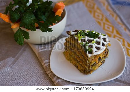 Pie Beef Liver With Onions And Tuschenym Markovka On A Plate Decorated With Mayonnaise. Liver Cake.
