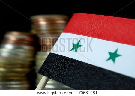 Syria Flag Waving With Stack Of Money Coins Macro