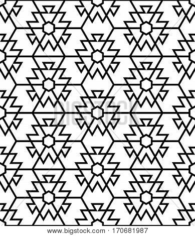 Vector seamless pattern. Modern stylish texture. Regularly repeating geometric grid with intersecting polygonal geometrical shapes hexagons rhombuses.