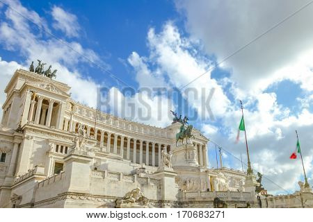 Closeup of famous National Monument the Vittoriano o Altare della Patria, of the patriot Altar, in Piazza Venezia, one of the Italian patriotic symbols located in the Campidoglio. Rome, Lazio, Italy.