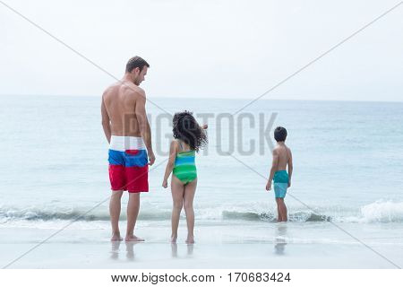 Girl showing to father while boy standing on sea shore at beach