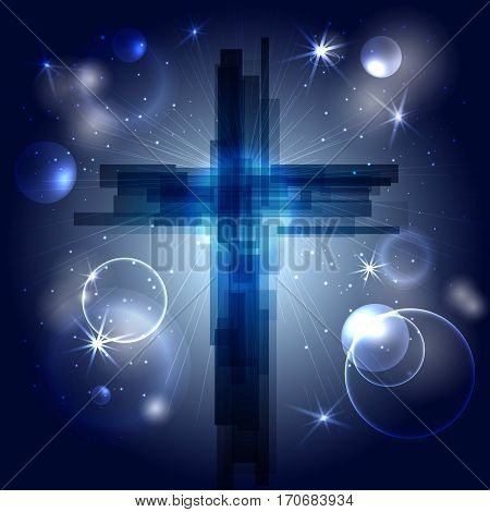 Abstract cross with rays stars and particles. The symbol of the Christian religion. Vector design. Night sky space.