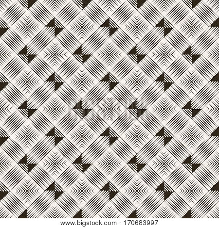 Seamless pattern. Art deco background. Modern stylish texture. Regularly repeating geometrical linear ornament with thin lines rhombuses triangles. Vector element of graphical design