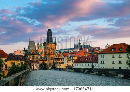 view on the Prague,Lesser Bridge Tower ,Charles bridge,( Karluv Most)