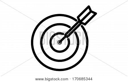 Pictogram - Dart, Arrow, Target, Aim, Bulls eye, Direct hit, Hit the mark, Strike home - Object Icon Symbol