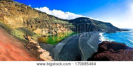 El Golfo with unique Lago Verde and black sands beach. Lanzarote, Canary islands