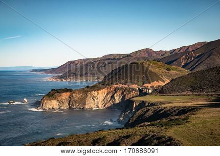 Westcoast on highway number 1 in california USA with Bixby Bridge