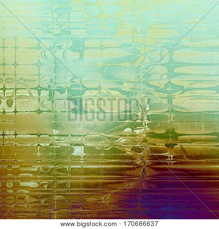 Highly detailed scratched texture, aged grungy background. Vintage style composition with different color patterns: yellow (beige); brown; green; purple (violet); white; blue