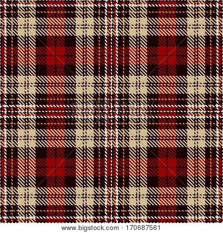 Tartan Seamless Pattern Background. Red Black Camel Beige and White Plaid Tartan Flannel Shirt Patterns. Trendy Tiles Vector Illustration for Wallpapers.