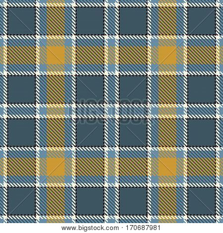 Tartan Seamless Pattern Background. Blue Black Gray Gold and White Plaid Tartan Flannel Shirt Patterns. Trendy Tiles Vector Illustration for Wallpapers.
