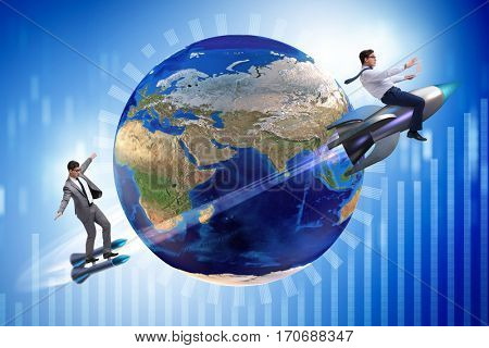 Two businessmen chasing around globe