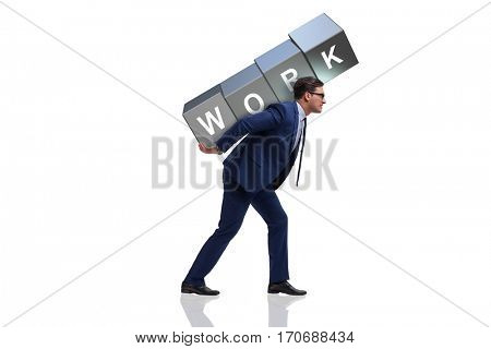 Businessman working too hard in business concept