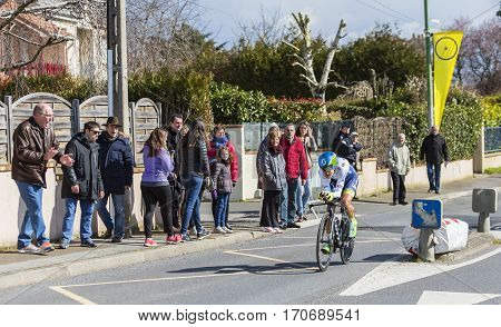 Conflans-Sainte-HonorineFrance-March 62016: The Spanish cyclist Amets Txurruka Ansola of Orica-GreenEDGE Team riding during the prologue stage of Paris-Nice 2016.