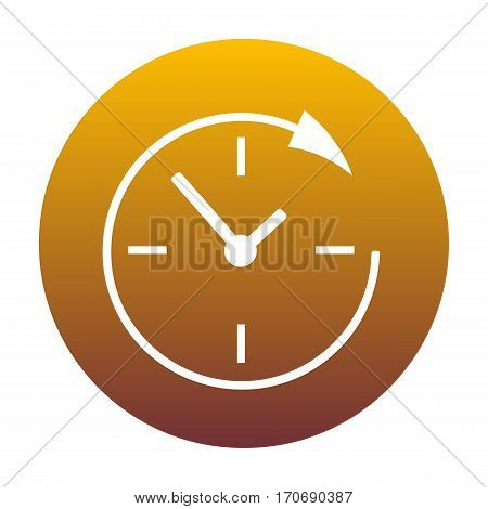 Service and support for customers around the clock and 24 hours. White icon in circle with golden gradient as background. Isolated.