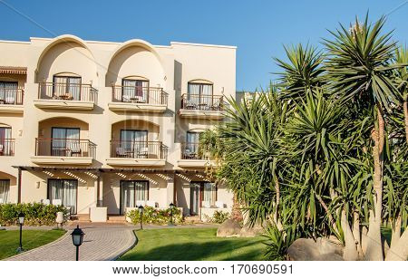 EGYPT, SHARM EL SHEIKH - JULY 19, 2015: Buildings and Area Hotel Jaz Belvedere in Sharm El Sheikh, Popular Center of a Beach Holiday and Diving, Red Sea, Summer, Egypt